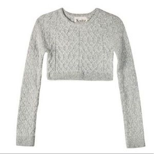 For Love and Lemons Bobcat Cropped Cable Sweater